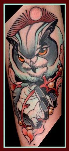 """Tattoo by Lars """"Lu's Lips"""" Uwe from Loxodrom in Berlin Owl Blue Tattoo, Get A Tattoo, Color Tattoo, Sailor Jerry, Owl Tattoo Design, Love Tattoos, Tatoos, Ink Tattoos, Tattoo Project"""