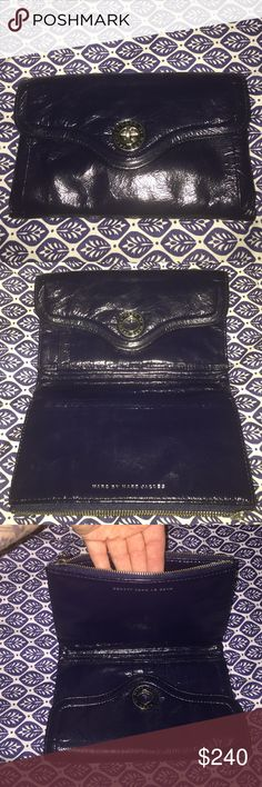 Marc by Marc Jacobs Clutch Gorgeous navy blue patten leather clutch. Has tons of storage for everything from cards, cash to your cellphone ( even those huge one like the iPhone plus models. This clutch is so cool and unique in design. It was only used for a short time and is in perfect condition. Marc by Marc Jacobs Bags Clutches & Wristlets