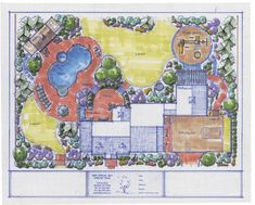 Big Estate Home Landscaping Plans - This design layout covers most everything around the entire home. There is a pool, pool house, patio, outdoor kitchen, play area for the kids, driveway, walkways, lawn, and plenty of planting beds. When you have an area this big, finding creative ways to use the space can be difficult. This rendering has some really great tips that most any yard large or small can incorporate into the project.