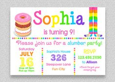 Donut Birthday Invitation  Pajama Party by TheTrendyButterfly