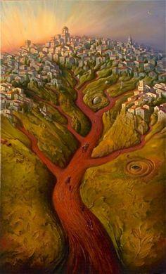 """Tree of Life"" - art by Vladimir Kush (?), via housepaintingsale Vladimir Kush, Wassily Kandinsky, Eugenia Loli, Surreal Artwork, World Map Poster, Old World Maps, Magic Realism, Surrealism Painting, Magritte"