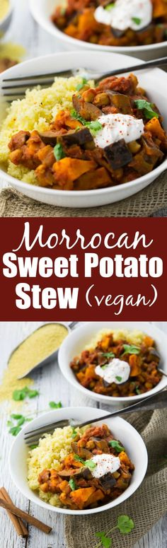 This Moroccan chickpea & sweet potato stew with eggplant and couscous is the perfect weeknight dinner: easy to make, healthy, and filling!