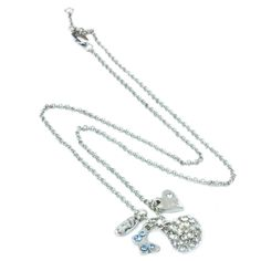 AN0013 - Rhodium plated necklace with small butterfly and heart charms  http://www.annabellewalker.com/