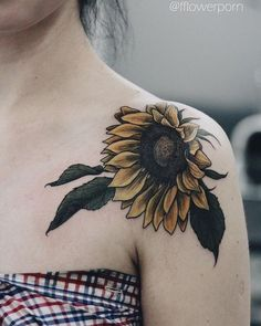 Top of Shoulder Tattoo with Sunflower Design.