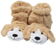 Microwaveable Dog Sock Slippers: Cute, cozy, and treated with aromatherapy. Put them in the microwave for extra warmth!