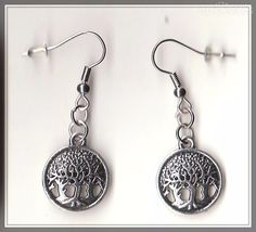 Tree of Life Charm Silver Tone Earrings  by MadAboutIncense - $9.50