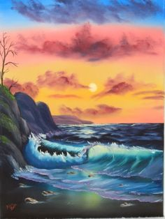 """""""By The Sea"""" by Bob Ross Based on the Joy of Painting® Season 21 PBS TV Series #happybirthdaybobross"""