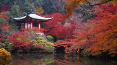 Temple in Japanese Kyoto Gardens