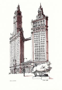 I drew this last year, but have only just got round to shading it. Using Rohrer & Klingner Bister. Architecture Drawing Art, Architecture Panel, Commercial Architecture, Concept Architecture, Architecture Details, Aesthetic Drawing, Aesthetic Art, Chicago Buildings, Building Sketch