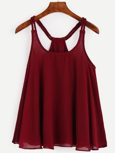 Burgundy Racerback Braided Strap Top -SheIn(Sheinside) - Woman Under Wear Spring Summer Fashion, Spring Outfits, Trendy Outfits, Cute Outfits, Fashion Outfits, Tight Tank Top, Fancy Tops, Clothes For Women, How To Wear