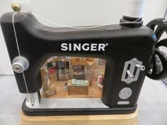 1:48 scale quilt shop in a sewing machine frame : THE PERIPATETIC MINIATURIST: St Louis NAME Exhibits
