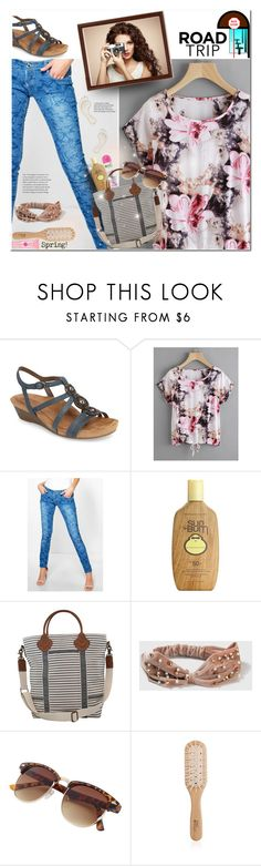 """""""2Days: Road Trip"""" by moon-halo ❤ liked on Polyvore featuring Cobb Hill, Boohoo, Trilogy, Sun Bum, CB Station, Topshop, Philip Kingsley, denim, floralprint and roadtrip"""