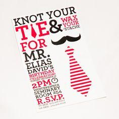 First Birthday Invitation, Little Man, Mustache, Necktie