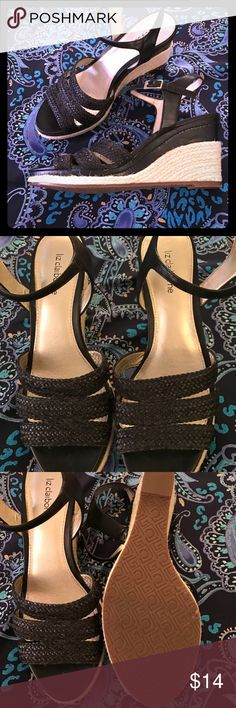 """🦋 Liz C. Black wedge sandals🦋 Size 8 🌸 Liz Claiborne size 8, black with front woven sandal straps, heel is 3"""" wedge, too small- worn once- excellent condition like new🌸🌟🌟🌷SAVE 15% when you bundle 2 or more items🌷🌟🌟 Liz Claiborne Shoes Wedges"""