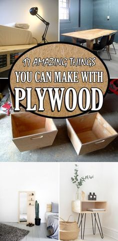 Woodworking Tips 17 Amazing Things You Can Make with Plywood - Check out these cool plywood projects that anyone can make using only basic hand and power tools. Plywood Projects, Woodworking Jigs, Woodworking Furniture, Woodworking Projects Plans, Furniture Plans, Diy Furniture, Diy Projects, Project Ideas, Plywood Furniture