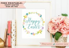 FREE Happy Easter Printable by BitsyCreations for Somewhat Simple -- Use as wall art or print small and use as a tag for Easter goodies!
