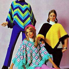 INSTANT DOWNLOAD PDF Vintage Crochet and Knitting Pattern  Three Ponchos  Granny Squares Chevron Stripes 1970s Retro