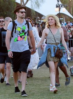 Joshua Jackson & Diane Kruger: at Coachella there was also Mickey Mouse! #coachella #tshirt #style #hipster #music #festival #celebrities #cool