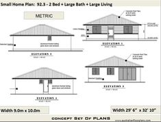 Granny pods floor plans 2 Bedroom House Plan 968 sq feet or 90 2 small home The Plan, How To Plan, Home Design, Small House Design, 2 Bedroom House Plans, Cottage House Plans, Two Story House Plans, Small House Plans, Plane 2