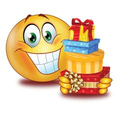 Big Smile With Gifts Emoji Happy Birthday Emoji, Happy Birthday Wishes Song, Happy Birthday Funny Humorous, Birthday Wishes Messages, Smiley Emoticon, Smiley Happy, Animated Emoticons, Funny Emoticons, Emoji Pictures