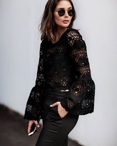 PREVIEW STYLE: Sara of @harperandharley gives us a preview of the Lace Crop Bell Sleeve Top , in store next month. #seedheritage #instagram #woman
