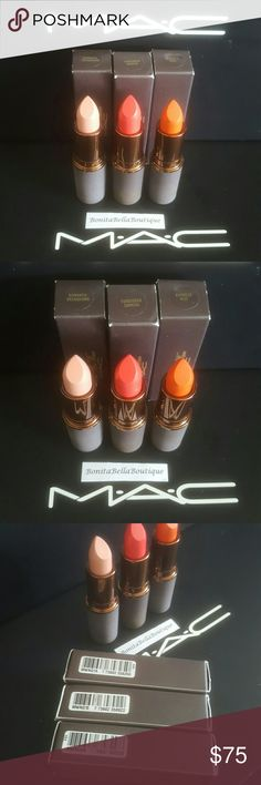 MAC COSMETICS BAO BAO WAN LIPSTICK BUNDLE OF 3 MAC COSMETICS BAO BAO WAN  COLLECTION.  BUNDLE OF 3 LIMITED EDITION LIPSTICKS: BRAND NEW IN BOXES. BURMESE KISS FORBIDDEN SUNRISE ROMANTIC  BREAKDOWN   COPY OF MY RECEIPT AVAILABLE!! MAC Cosmetics Makeup Lipstick
