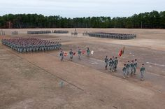 The Gun Devils of the 3rd Battalion, 319th Airborne Field Artillery Regiment march during the brigade's recent change of command conducted on Fort Bragg's Pike Field.