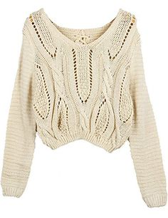 PrettyGuide Women Eyelet Cable Knit Lace Up Crop Long Sleeve Sweater Crop Tops Beige PrettyGuide http://www.amazon.com/dp/B00GYVV8V4/ref=cm_sw_r_pi_dp_L48yvb19HGM9X