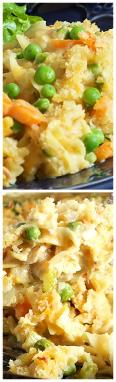 The Very Best Tuna Noodle Casserole ~ Warm, comforting, fast and easy... Carrots, peas and tuna are blended with a creamy sauce then cooked with noodles before being topped with a buttery, crispy crust.