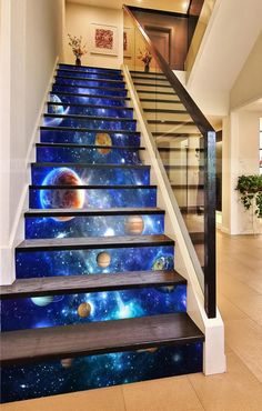 Stair Stickers, Photo Wall Stickers, Wallpaper Stickers, Stairway Art, Decoration Photo, Marble Stairs, Door Murals, Stair Risers, Basement Stairs