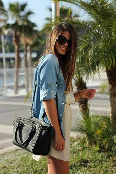 Simple summer dress with denim quarter sleeve top - great summer bbq look