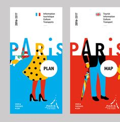 New graphic charter of the Paris Visitors Bureau. Design of the logotype, the graphic charter and the publishing documents, art direction for the illustrations created by Séverin Millet. Buch Design, Map Design, Banner Design, Layout Design, Brand Design, Map Paris, Paris Logo, Paris City, City Branding
