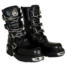 $226.08 New Rock Boots Style 713 (Black/Silver)