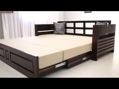 Sofa Cumbed Design, Wood Bed Design, Living Room Sofa Design, Bedroom Bed Design, Bedroom Furniture Design, Sofa Come Bed Furniture, Sofa Bed Wood, Tv Stand Furniture, Sofa Bed For Small Spaces
