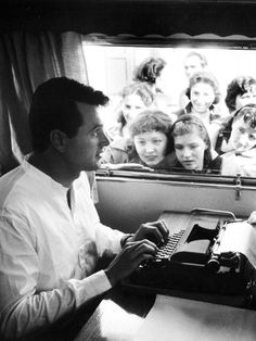Rock Hudson in his trailer on the set of 'A Farewell To Arms', 1957.