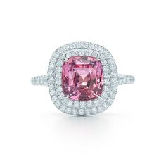 Tiffany Soleste® unenhanced Padparadscha sapphire ring in platinum with diamonds | Tiffany & Co.