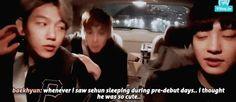 Baekhyun saying that Sehun was really cute when he was sleeping during pre-debut days that he actually bite his butt [trans] Bts And Exo, Funny Tumblr Posts, Chanbaek, Shut Up, Pop Group, Baekhyun, Seventeen, Korean Idols, Kpop
