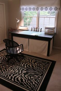 Creating more Storage Space with Skirted Desks (get canvas fabric at JoAnn's doesn't wrinkle)