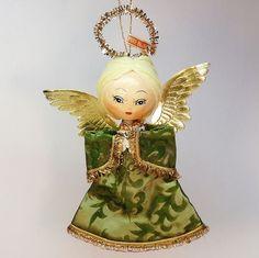 vtg angel ornament Japan blonde hair pretty brocade dress Christmas