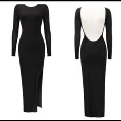 Black maxi fitted dress Tight fitted black silky dress with deep back, and slit on side. Popular celebrity dress .. Made in UK .. Sizes s,m,L .. US $ 60 Dresses