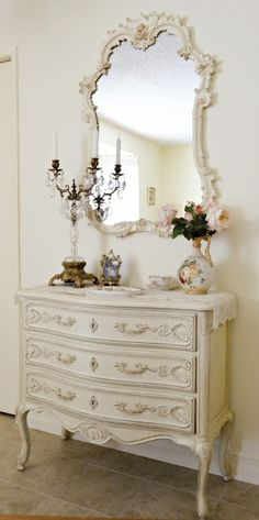 Lovely French-ness via Jennelise, could be Country French, beautiful dresser/mirror