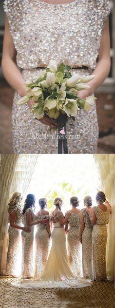 2016 bridesmaid dresses, long bridesmaid dresses, silver sequined bridesmaid dresses