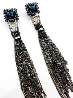 Blue comet, earrings oxidized silver , gold, london blue quartz, hyaline quartz#ZERO43