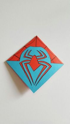 The back of Handmade Spiderman Style Bookmark - Visit to grab an amazing super hero shirt now on sale! Origami Bookmark, Corner Bookmarks, Bookmarks Kids, Origami Paper, Origami Folding, Origami Boxes, Dollar Origami, Origami Ball, Spiderman Cards