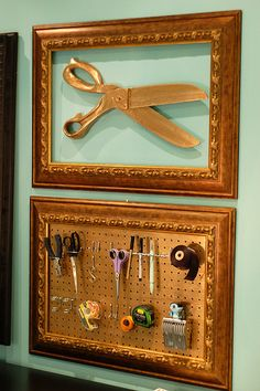 old repurposed frame got the gilt treatment and was fitted with peg board ...organizing with style!