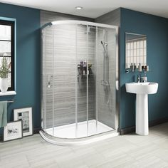 Fitting snugly in the corner of your room, quadrant shower enclosures are great at saving on space. Discover our quality range of quadrant shower cubicles. Small Shower Room, Small Showers, Shower Rooms, Sliding Door Mechanism, Sliding Doors, Large Bathrooms, Small Bathroom, Family Bathroom, Bathroom Cabinets Over Toilet
