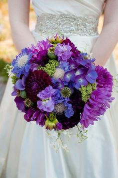 Gorgeous Bouquet Featuring Fuchsia, Blue, Purple, Sangria Florals With Greenery/Foliage