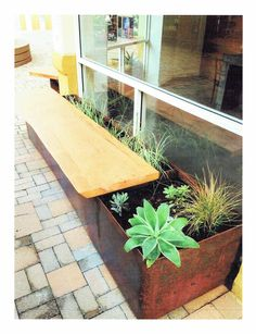 Outdoor inspiration. Cool bench/planter combo.