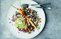Linsensalat mit Honig-Karotten und grünem Püree