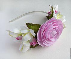 Ободок для волос с цветами, цветочное украшение для прически, обруч с цветами, мастер Любовь амосова